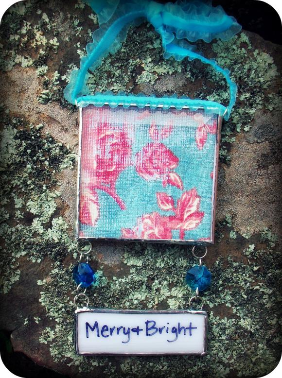 """Insert Your Own PHOTO Soldered Glass Ornament with """"WRITE On"""" Hang Tag....Turquoise ribbon"""