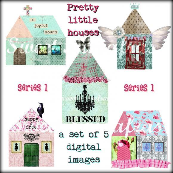 Digital Collage Clip Art - Pretty Little Houses....Series 1.....