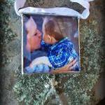 Insert Your Own Photo Soldered Glass Ornament with Chandelier Crystal and Rhinestones...