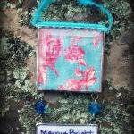 "Insert Your Own PHOTO Soldered Glass Ornament with ""WRITE On"" Hang Tag....Turquoise ribbon"