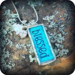 Blessed Love Soldered Glass Pendant Necklace with rhinestones and beads....