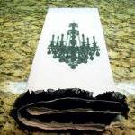 SALE Chandelier tea towel with black ruffle flower trim