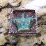 SALE Shadow Box Crown Pendant with Hand-Stamped Copper - LOVE -